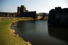 Caerphily castle. By the river royalty free stock photos