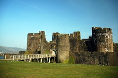 Caerphily castle. R as seen from a distance stock photo