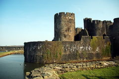 Caerphily castle. By the river stock photos