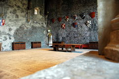 Caerphily castle. Artefacts inside of caerphily castle royalty free stock images