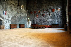 Caerphily castle. Artefacts inside of caerphily castle stock photography