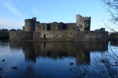 Caerpilly castle  and moat Royalty Free Stock Images