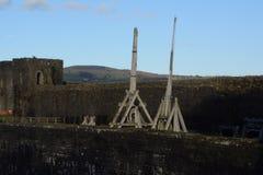 Caerpilly castle  seige engines Stock Image