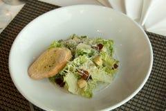 Caesar σαλάτα πιάτων με croutons εύγευστα Στοκ Εικόνες