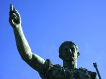 Caesar. Detail of bronze statue of Julio Caesar with the blue sky - Rome - Italy Stock Photo