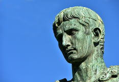 Caesar Augustus, first emperor of Rome. Augustus bronze statue from Imperial Forum, in the center of Rome Stock Photos