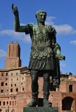 Caesar Augustus Traianus the victorious. Emperor Trajan with his forum and Torre delle Milizie in the backgorund Royalty Free Stock Photos
