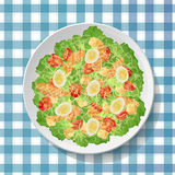 Caesar or ceasar vegetable salad with tasty grilled chicken brea Stock Images