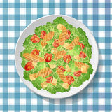 Caesar or ceasar vegetable salad with tasty grilled chicken brea Royalty Free Stock Images