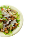 Caesar chicken salad on white background Royalty Free Stock Image