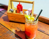 Caesar drink garnished with spices Royalty Free Stock Photos