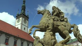 Caesar Fountain in Olomouc 1725, auf dem oberen Quadrat stock footage