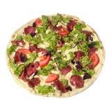 Caesar pizza z prosciutto Parma baleronem, arugula sałatki rakietą i parmesan, Odgórny widok Odizolowywający na bielu obrazy royalty free