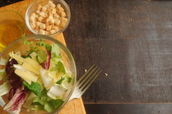 Caesar's salad ingredients fresh salad made Royalty Free Stock Images