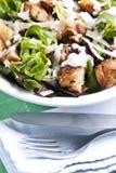 Caesar salad. Delicious chicken caesar salad with tasty dressing royalty free stock photos