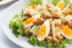 Caesar salad. With eggs, lettuce, croutons, parmesan, and chicken breast stock photos