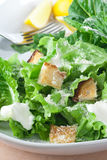 Caesar Salad. With grated parmesan, croutons and dressing stock photo