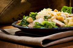 Caesar salad. With chicken and greens stock image