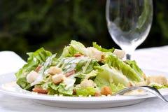 Caesar Salad. Served in a garden setting.  Healthy al fresco dining Royalty Free Stock Photos