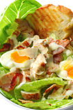 Caesar Salad. In close-up. With grilled chicken, croutons, kos lettuce, eggs, bacon, shaved parmesan and a creamy dressing royalty free stock photos
