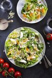 Caesar salad with boiled egg, romaine lettuce, croutons, parmesan cheese and creamy dressing. A bowl of Caesar salad with boiled egg, romaine lettuce, croutons stock photos