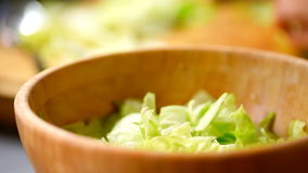 Caesar Salad In Bowl preparante domestico video d archivio