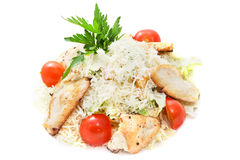 Caesar salad with chicken. Cheese and tomatoes on a white background royalty free stock image