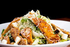 Caesar salad with chicken fillet. A white dish with Caesar salad and juicy chicken fillet with sauce Royalty Free Stock Images