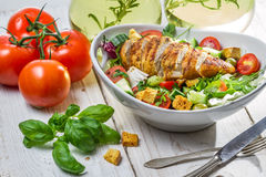 Caesar Salad with chicken and fresh ingredients stock photos