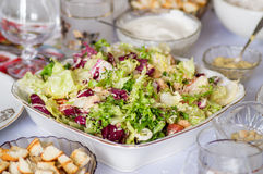 Caesar Salad. With a chicken and green lettuce leaves stock image