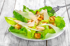Caesar salad with cos lettuce, croutons and grilled chicken Stock Photo