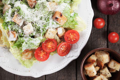 Caesar salad with croutons and cherry tomato Stock Photography