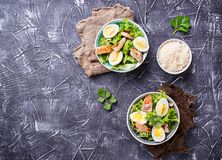 Caesar salad with eggs, chicken and parmesan Royalty Free Stock Image