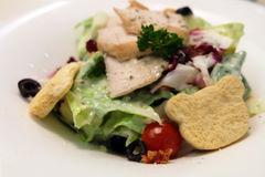 Caesar Salad fresco con panes del oso y pollo en la placa blanca Foto de archivo