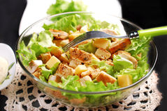 Caesar salad in glass bowl Stock Photography