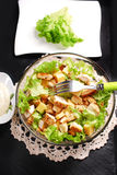 Caesar salad in glass bowl Royalty Free Stock Photography