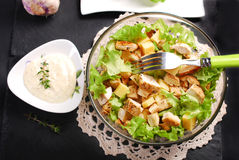 Caesar salad in glass bowl Royalty Free Stock Photos