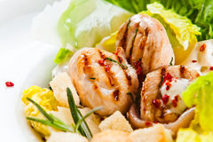 Caesar salad with grilled chicken Stock Photography