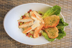 Caesar Salad with grilled prawn stock images