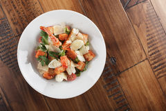 Caesar salad with king prawns Stock Images