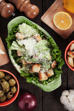 Caesar salad with lettuce, croutons and cheese Stock Photo