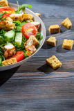 Caesar salad made of fresh vegetables royalty free stock images