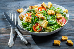 Caesar salad made of fresh vegetables royalty free stock photography
