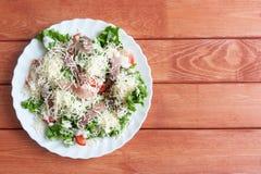 Caesar Salad met Omul Royalty-vrije Stock Afbeeldingen