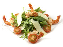 Caesar salad with prawns Royalty Free Stock Photos