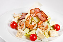Caesar salad with prawns Royalty Free Stock Image