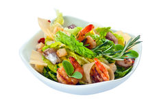 Caesar salad with  prawns,  saved clipping path Stock Photos