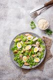 Caesar salad with eggs, chicken and parmesan Royalty Free Stock Photography