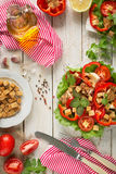 Caesar salad on rustic background Stock Images