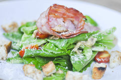 Caesar salad or salad with cos lettuce and ham Royalty Free Stock Photos